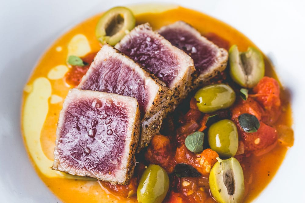 seared tuna with quick tomato and olive sauce