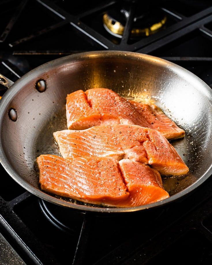searing salmon skin down for salmon teriyaki