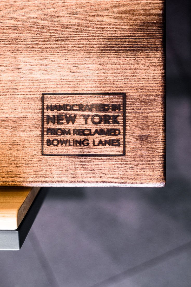 shake shack san diego tables made from reclaimed bowling lanes