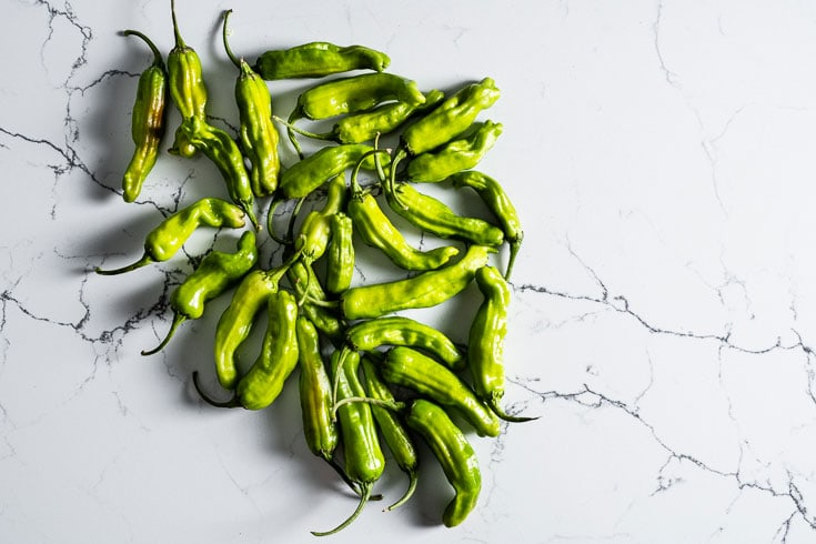 shishito peppers overhead