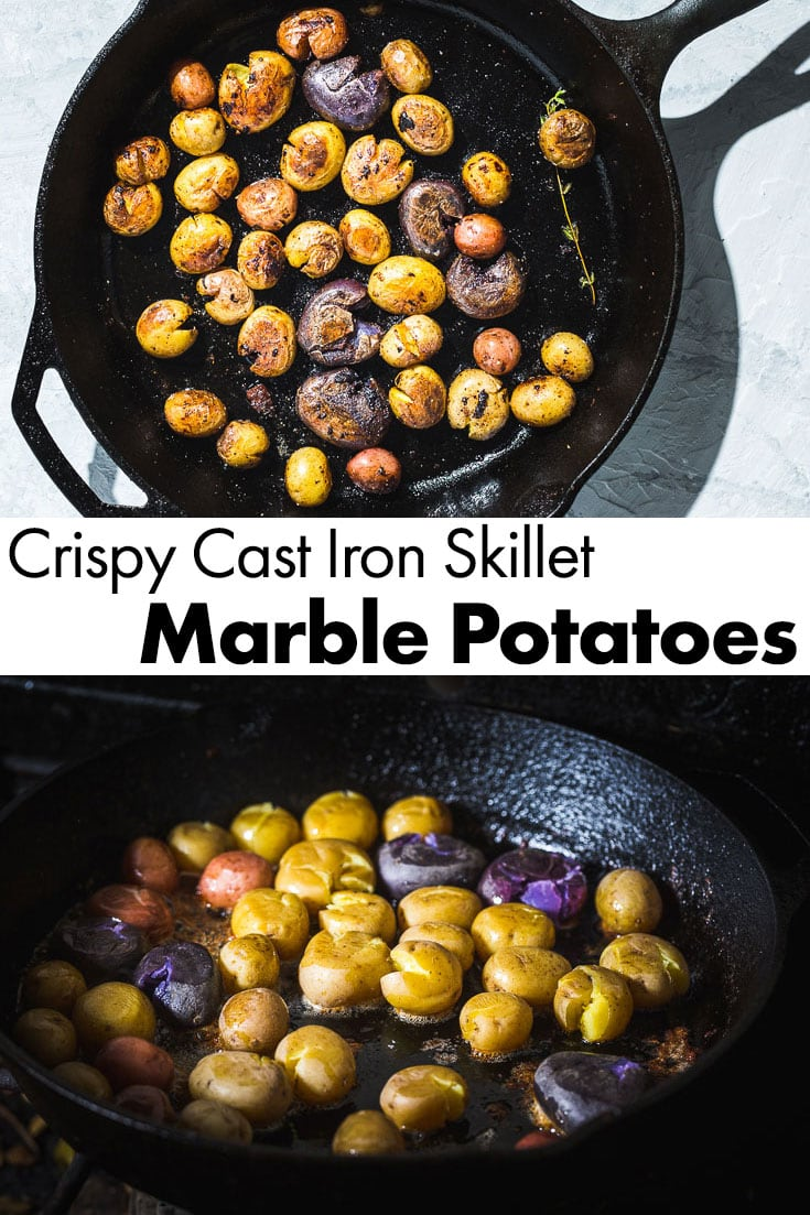 The best and crispiest Cast Iron Skillet Marble Potatoes. There aren't many sides forsteak or chicken that are better than crispy potatoes with tons of flavor. The outside is crunchy and the inside is creamy. #saltpepperskillet #potatoes #skilletpotatoes #steaksides #potatorecipe #grillingsides #castironskillet