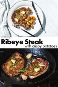 skillet rib eye steak. and potatoes vertical