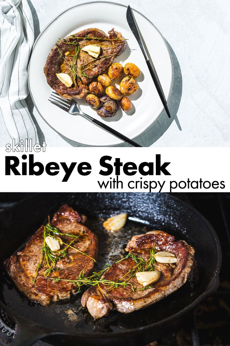 Easy and delicious one skillet ribeye steak basted in butter, garlic and herbs with crispy baby marble potatoes. #steak #ribeye #potatoes #skillet #recipe #saltpepperskillet