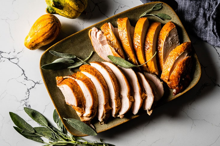sliced glazed smoked turkey breast overhead