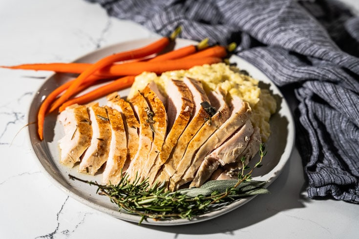 sliced sous vide turkey breast horizontal