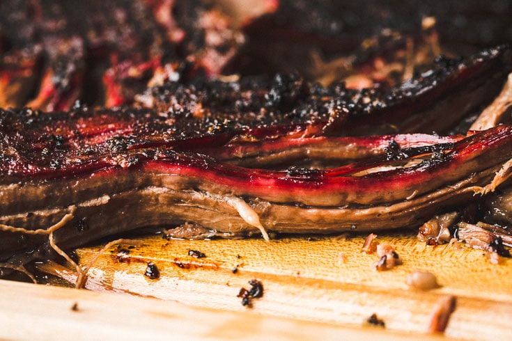 smoked brisket point close up