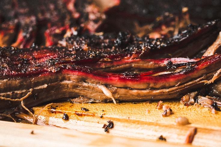 smoked brisket point close up