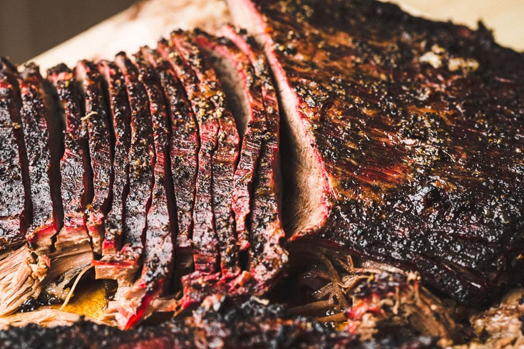 smoked brisket sliced horizontal