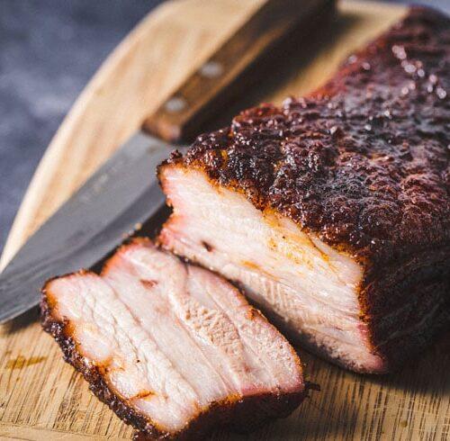 smoked pork belly slice horizontal