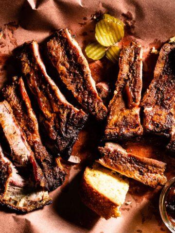 smoked pork ribs on butcher paper