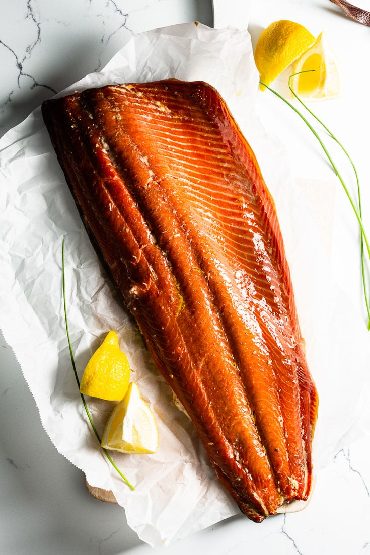smoked salmon filet vertical