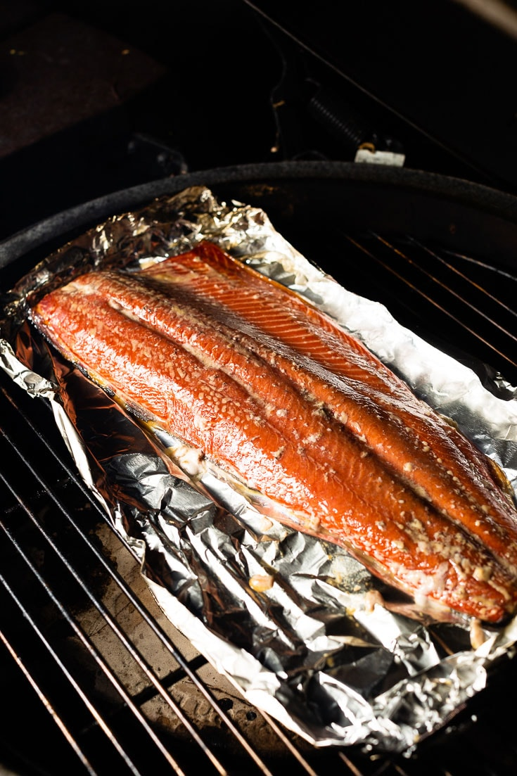 smoked salmon in smoker