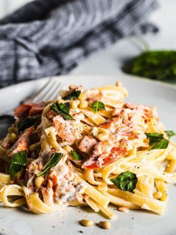 smoked salmon pasta on plate side view horizontal