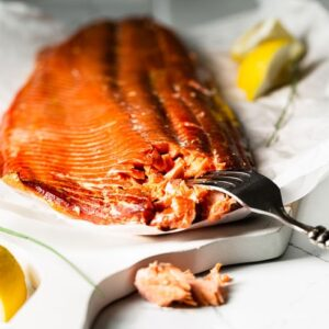 smoked salmon with fork horizontal