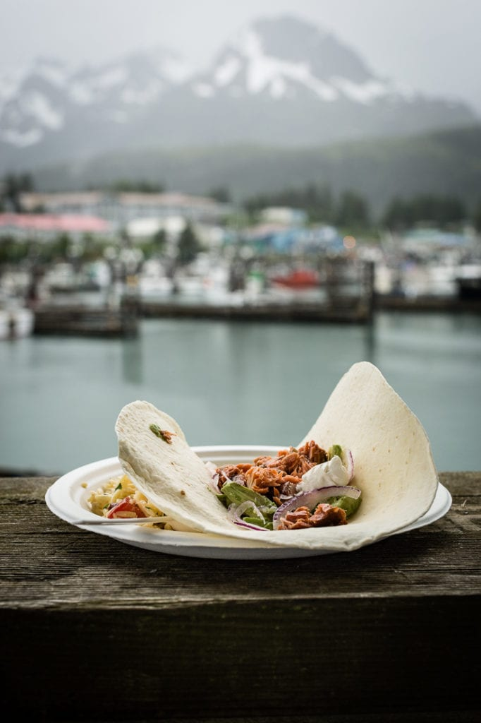 smoked samon tacos in cardova harbor