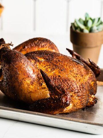 smoked whole chicken on sheet pan horizontal