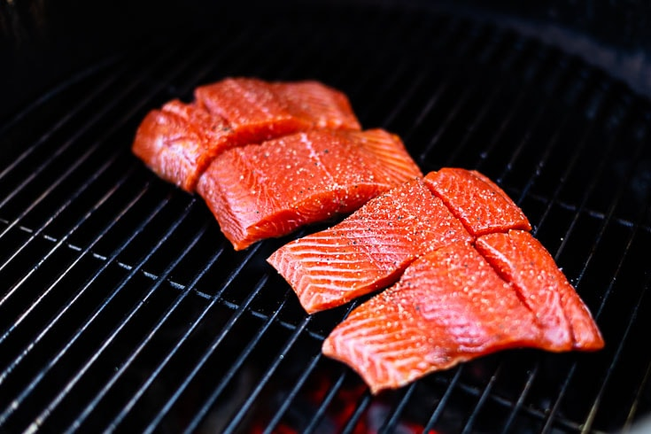 sockeye salmon on grill skin side down