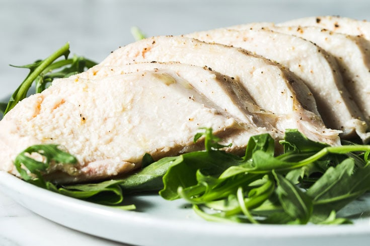 sous vide chicken breasts horizontal close up