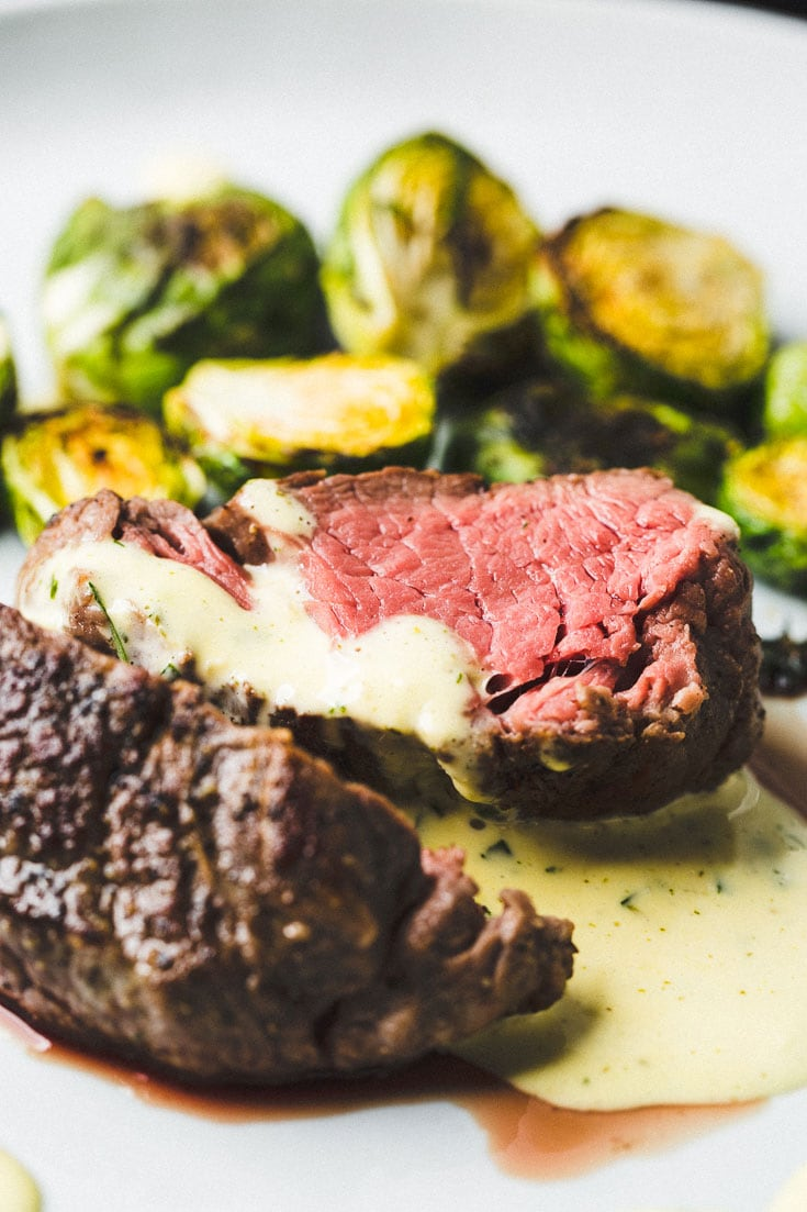 sous vide filet mignon with bearnaise sauce close up