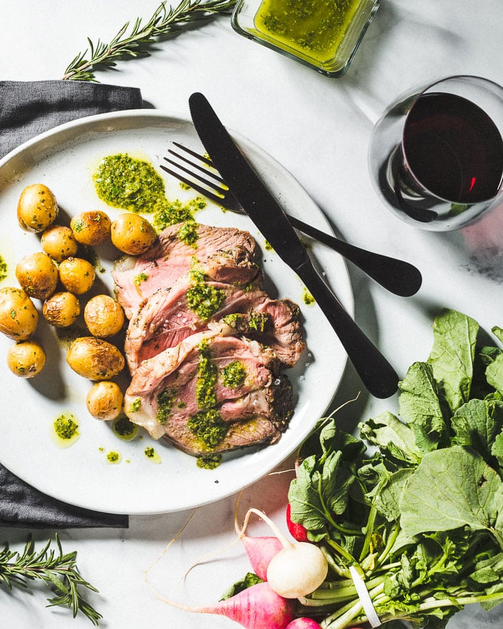 Herb Crusted Sous Vide Leg Of Lamb Recipe With An Italian Salsa Verde