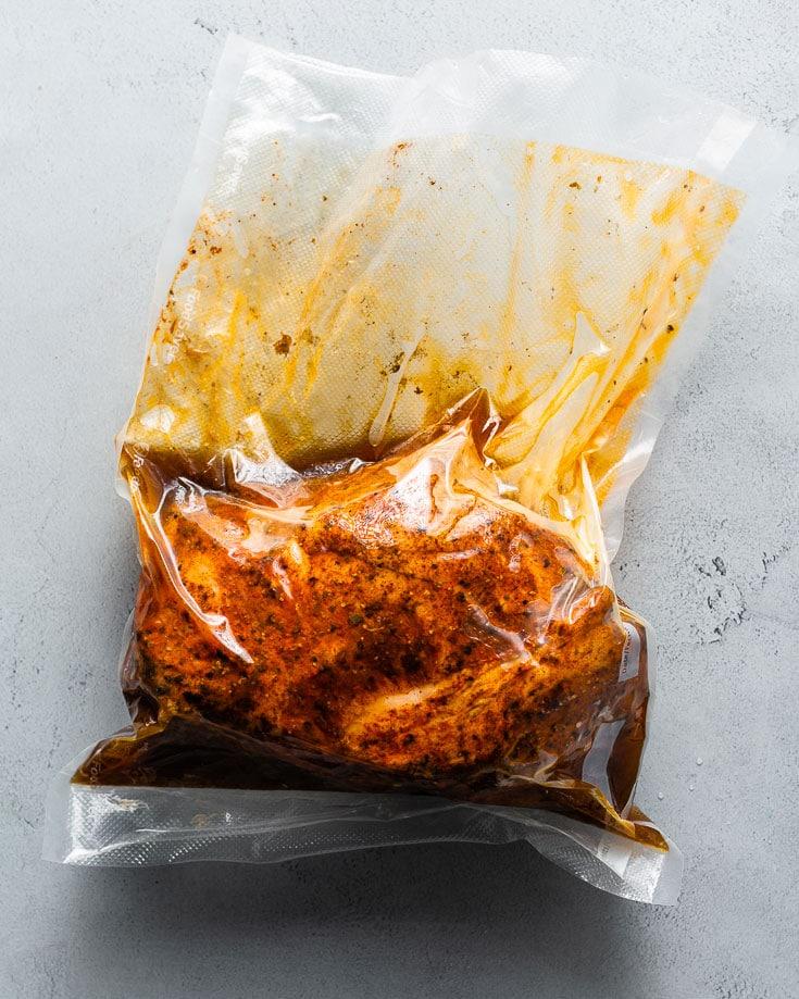 sous vide pork shoulder cooked in bag
