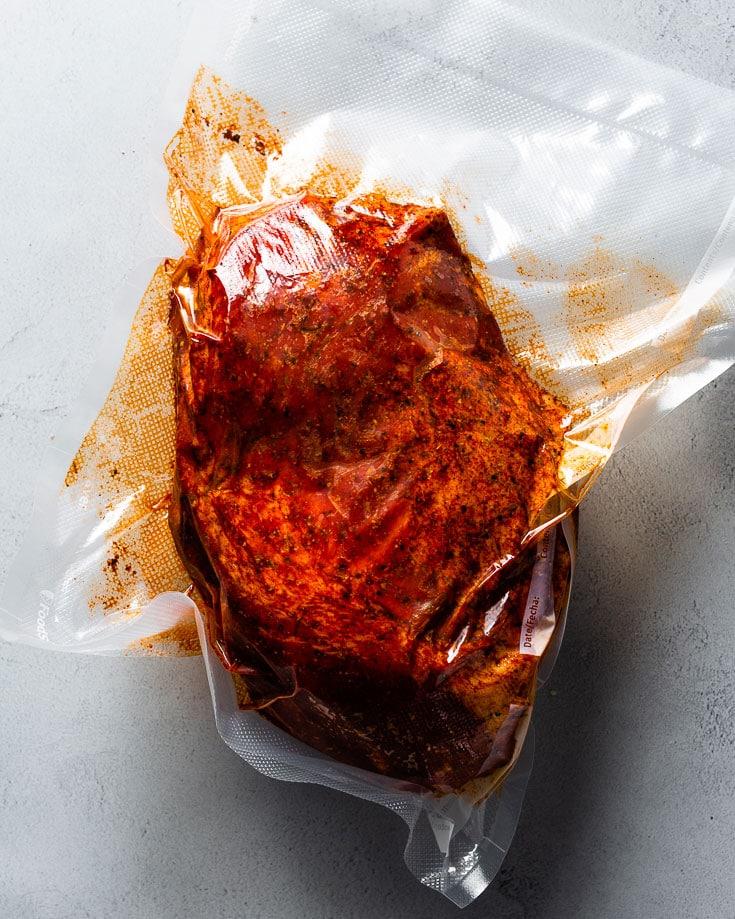 sous vide pork shoulder in bag