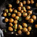 Sous Vide potatoes in skillet close up
