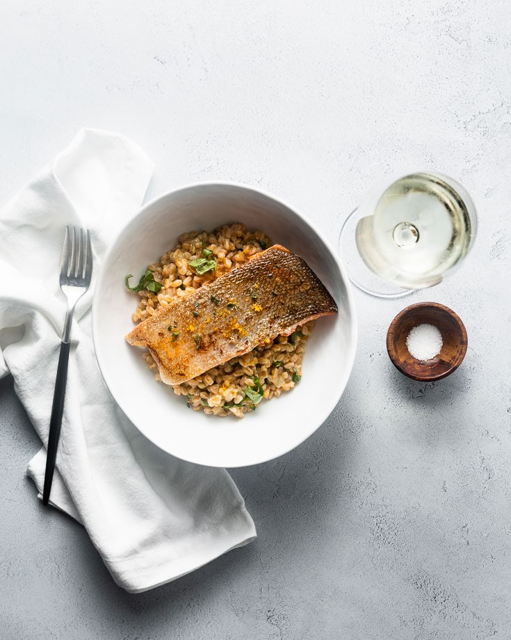 sous vide salmon and farro risotto overhead 1