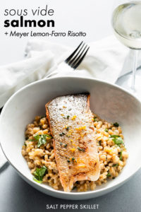 sous vide wild salmon with meyer lemon farro risotto