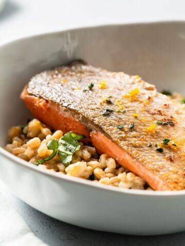 sous vide salmon and farro risotto side angle