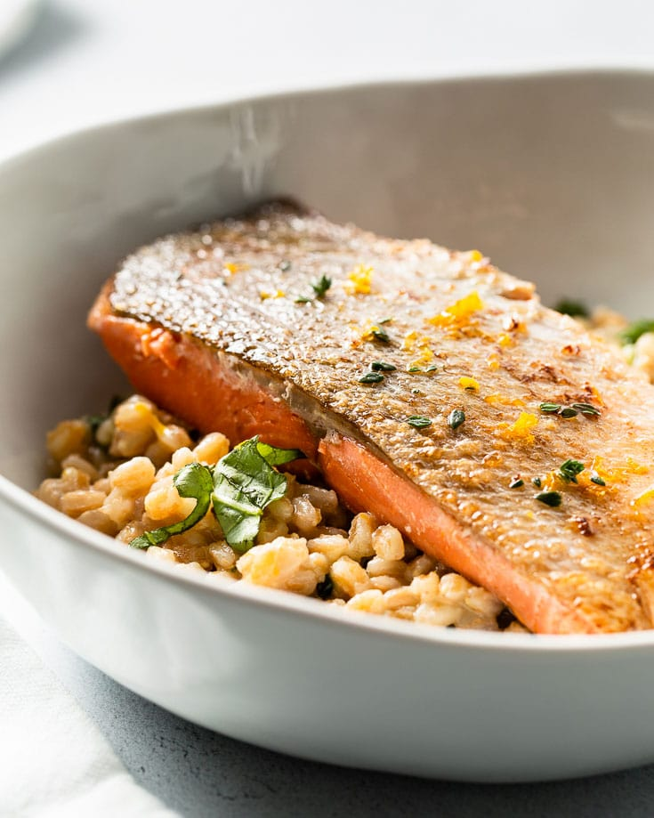 sous vide salmon and farro risotto side angle