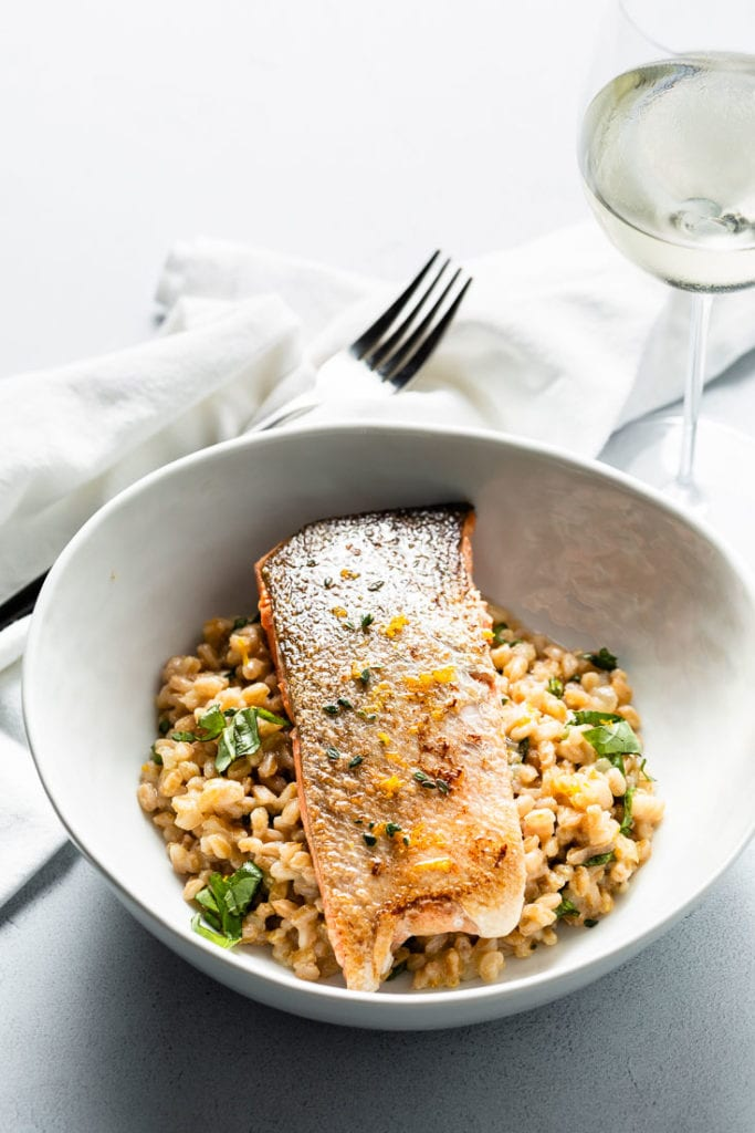 sous vide salmon and farro risotto vertical 2