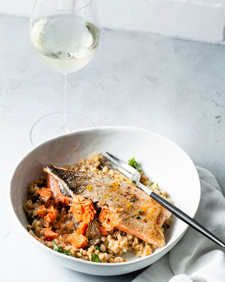sous vide salmon and farro risotto vertical 3