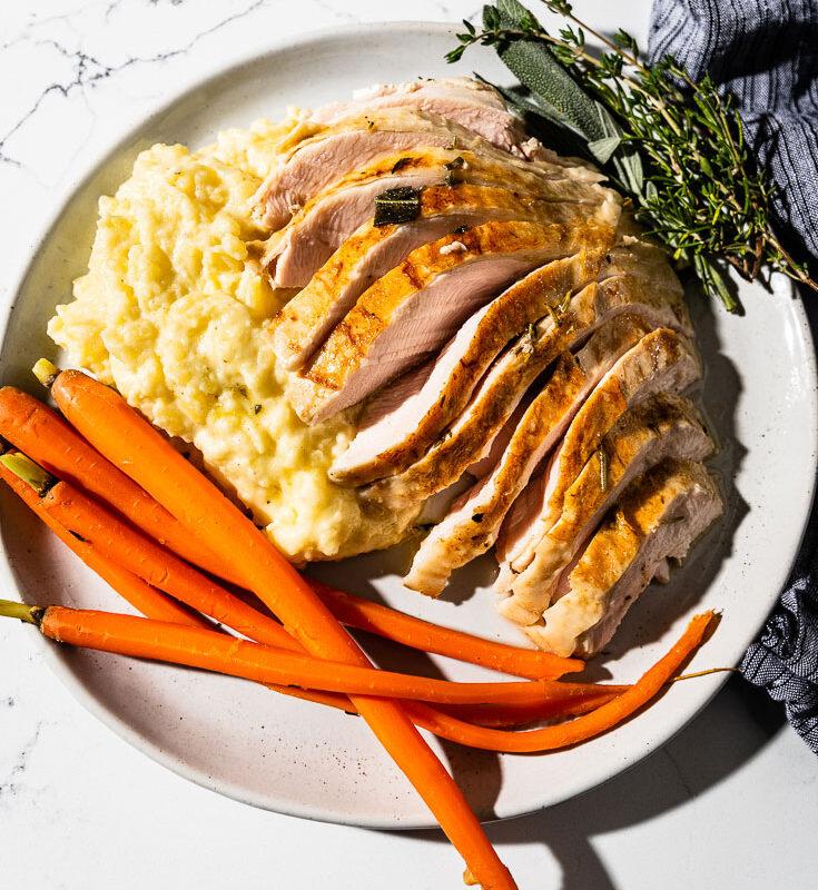 sous vide turkey breast on plate overhead 1