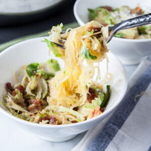 Spaghetti Squash + Brussels Sprouts + Bacon   SaltPepperSkillet.com