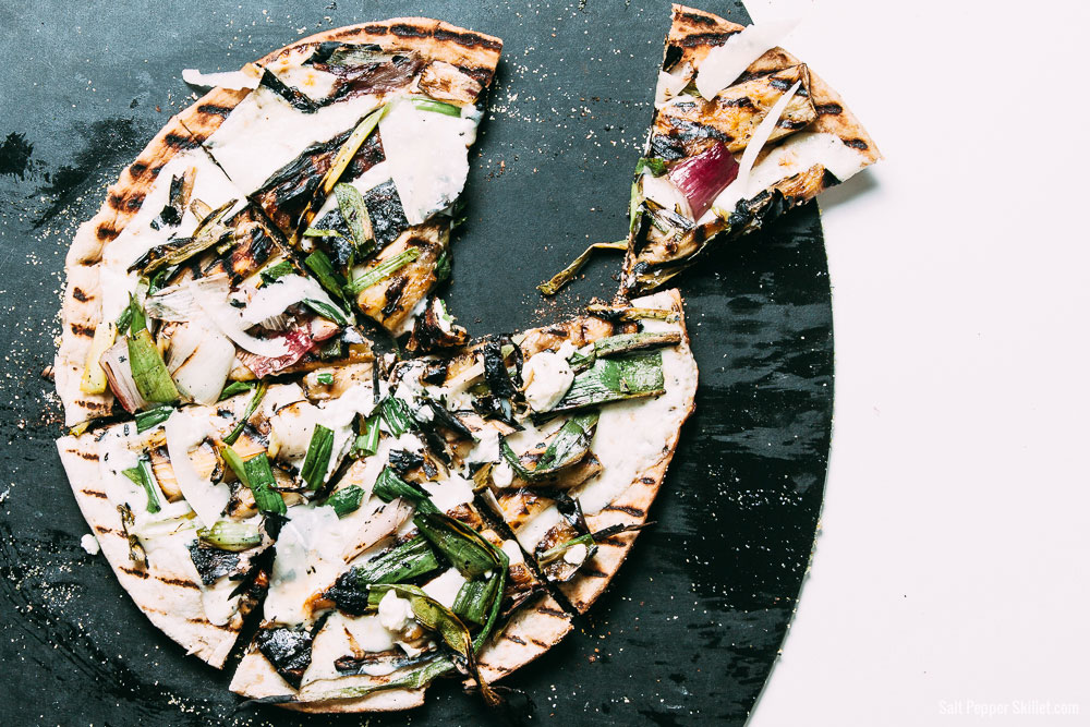 Grilled Spring Onion and Eggplant Pizza