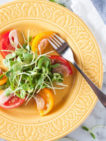 Sunflower Sprout and Tomato Salad Recipe | SaltPepperSkillet.com