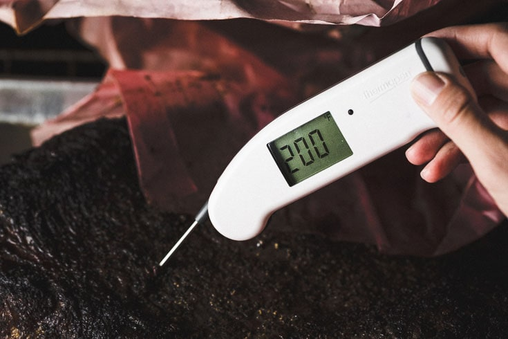 temp check thermapen smoked brisket