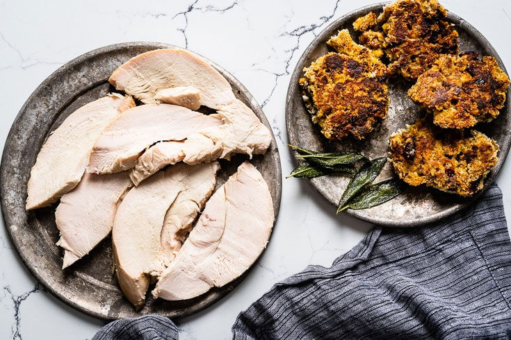 turkey and stuffing cakes on plates