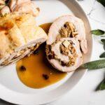 turkey roulade on plate overhead