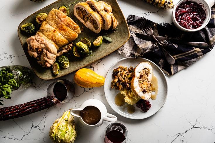 turkey roulade thanksgiving spread