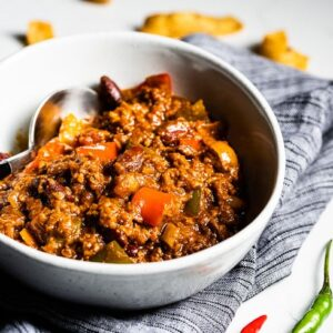 vegetarian chili in bowl side horizontal
