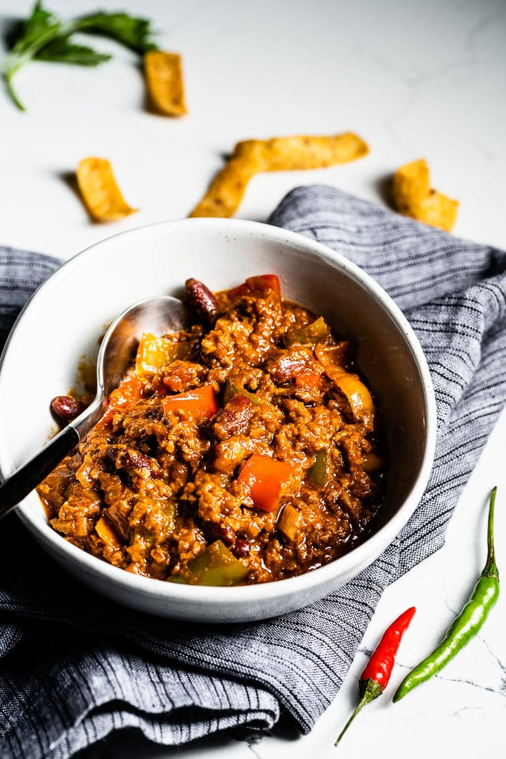 vegetarian chili in bowl side vertical 2