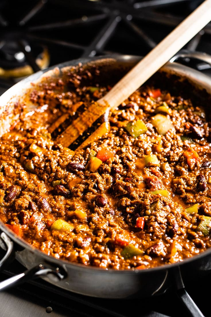 vegetarian chili in saute pan overhead