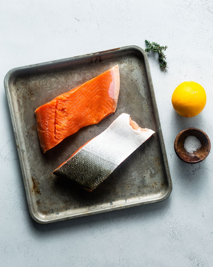 wild salmon on sheet pan