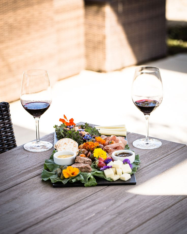 wine and food at a winery on table